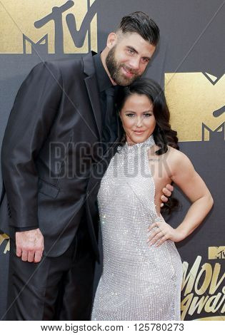 David Eason and Jenelle Evans at the 2016 MTV Movie Awards held at the Warner Bros. Studios in Burbank, USA on April 9, 2016.