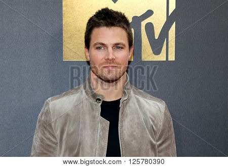 Stephen Amell at the 2016 MTV Movie Awards held at the Warner Bros. Studios in Burbank, USA on April 9, 2016.