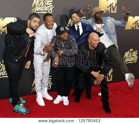 O'Shea Jackson Jr., Corey Hawkins, Common, Neil Brown Jr. and Aldis Hodge at the 2016 MTV Movie Awards held at the Warner Bros. Studios in Burbank, USA on April 9, 2016.
