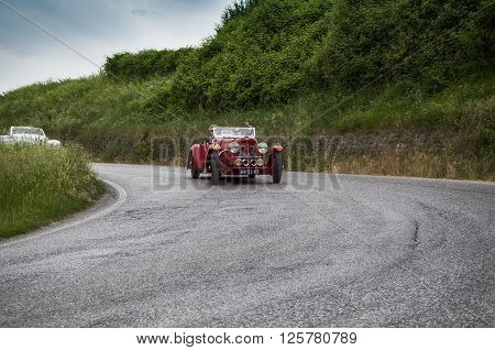 PESARO, ITALY - MAY 15: ASTON MARTIN 2 Litre Speed Model 1939 on an old racing car in rally Mille Miglia 2015 the famous italian historical race (1927-1957) on May 2015