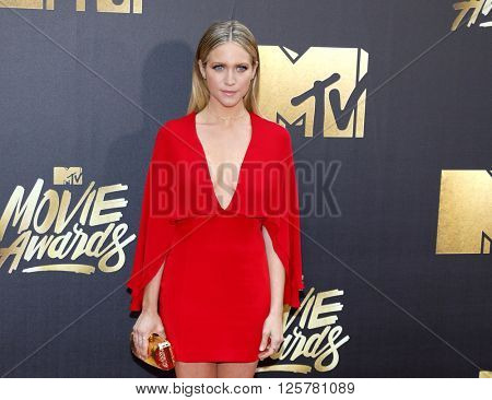 Brittany Snow at the 2016 MTV Movie Awards held at the Warner Bros. Studios in Burbank, USA on April 9, 2016.