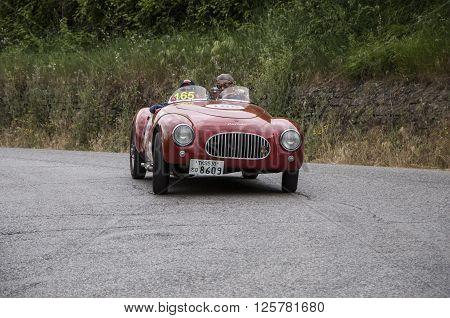 PESARO, ITALY - MAY 15: CISITALIA Colombo Barchetta 1948 on an old racing car in rally Mille Miglia 2015 the famous italian historical race (1927-1957) on May 2015