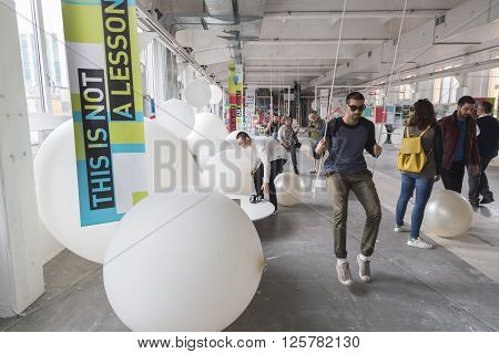 People Visiting Fuorisalone 2016 In Milan, Italy