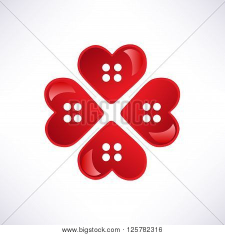 Heart red button sweetheart isolated on white. Vector