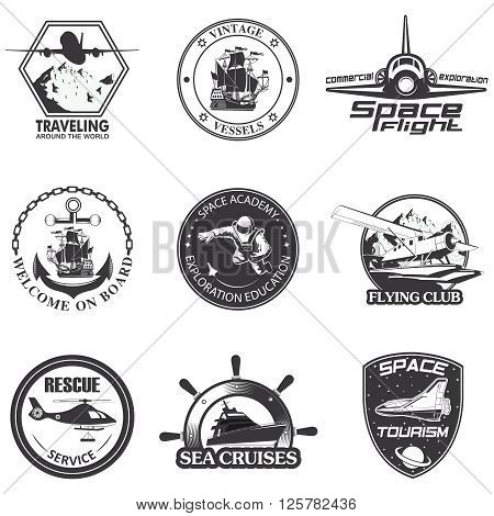Set of vintage space, nautical, aeronautics flight  emblems, labels, badges and logos