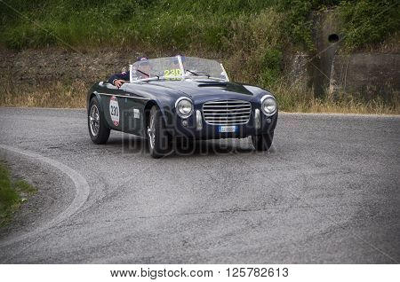PESARO, ITALY - MAY 15: S.I.A.T.A. Daina Gran Sport Stabilimenti Farina 1952 on an old racing car in rally Mille Miglia 2015 the famous italian historical race (1927-1957) on May 15 2015