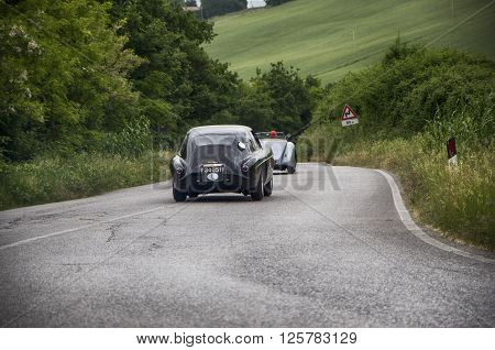 PESARO, ITALY - MAY 15: FERRARI 340 America berlinetta Vignale 1951 on an old racing car in rally Mille Miglia 2015 the famous italian historical race (1927-1957) on May 15 2015
