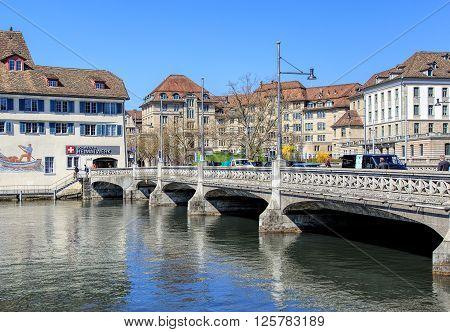 Zurich, Switzerland - 11 April, 2016: the Rufolf Brun bridge. Rudolf Brun (1290s-17 September 1360) was the leader of the Zurich guilds' revolution of 1336 and the city's first independent mayor.