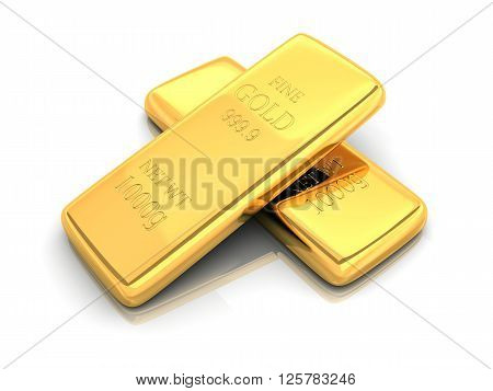 Gold bar in white background (done in 3d)