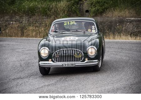 PESARO, ITALY - MAY 15: CISITALIA 202 B berlinetta Pinin Farina 1950  on an old racing car in rally Mille Miglia 2015 the famous italian historical race (1927-1957) on May 15 2015