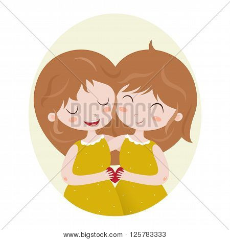 Cute horoscope. Zodiac signs. Gemini. Series of cartoon zodiac characters. Horoscope for kids or teens, template for card, invitation, calendar or etc. Vector illustration of the girls isolated on white background.