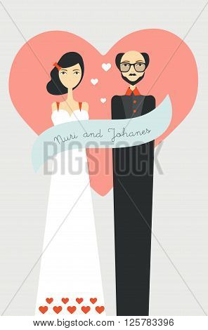 Weding couple with heart background. Flat vector.