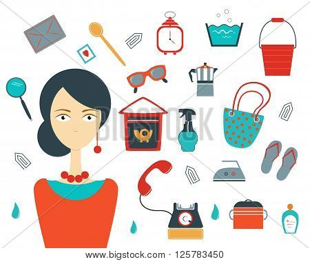 Collection of colorful house wife stuff. Modern flat set. Vector.
