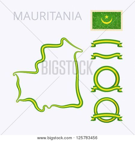 Outline map of Mauritania. Border is marked with ribbon in national colors. The package contains frames in national colors and stamp with flag.