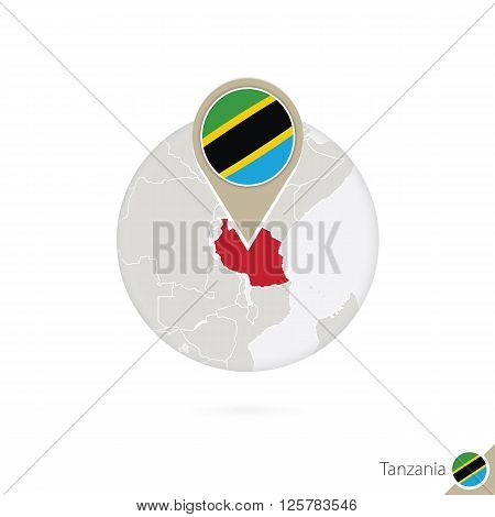 Tanzania Map And Flag In Circle. Map Of Tanzania, Tanzania Flag Pin. Map Of Tanzania In The Style Of