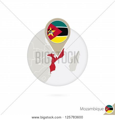 Mozambique Map And Flag In Circle. Map Of Mozambique, Mozambique Flag Pin. Map Of Mozambique In The