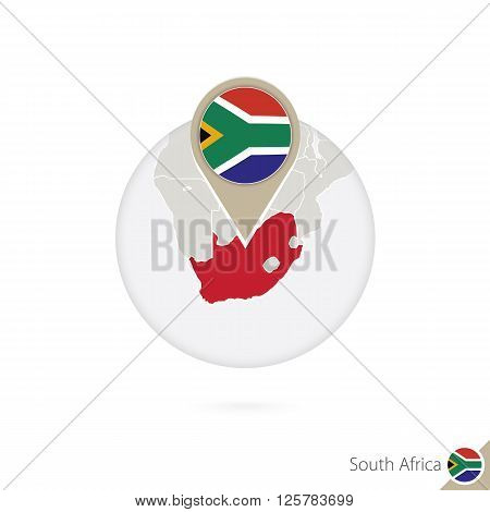 South Africa Map And Flag In Circle. Map Of South Africa, South Africa Flag Pin. Map Of South Africa