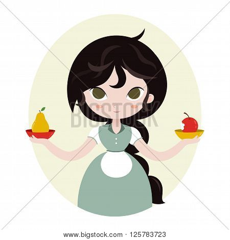 Cute horoscope. Zodiac signs.  Libra. Series of cartoon zodiac characters. Horoscope for kids or teens, template for card, invitation, calendar or etc. Vector illustration of the girl isolated on white background.