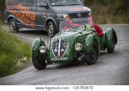 PESARO, ITALY - MAY 15: HEALEY 2400 Silverstone 1949 on an old racing car in rally Mille Miglia 2015 the famous italian historical race (1927-1957) on May 15 2015