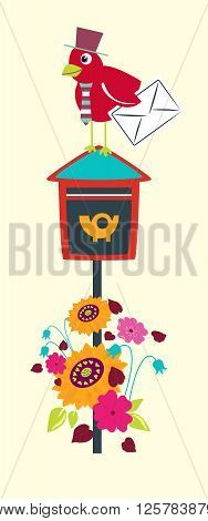 Bird on the postbox. Stylized happy cartoon animal. Flat vector illustration. Child Color design.