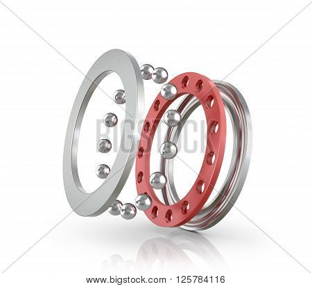 Bearing a ball bearing isolated white background. 3D illustration