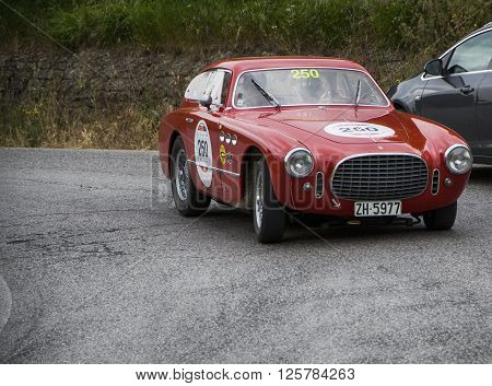 PESARO, ITALY - MAY 15: FERRARI 225 Sport Berlinetta Vignale 1952 on an old racing car in rally Mille Miglia 2015 the famous italian historical race (1927-1957) on May 15 2015