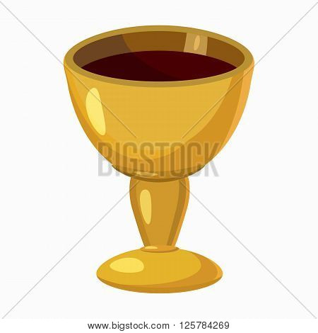 Holy Grail icon in cartoon style isolated on white background. Shiny gold cup