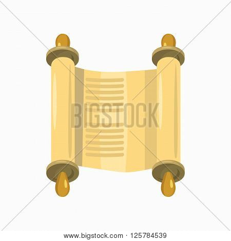 Jewish Torah scroll in expanded form icon in cartoon style isolated on white background
