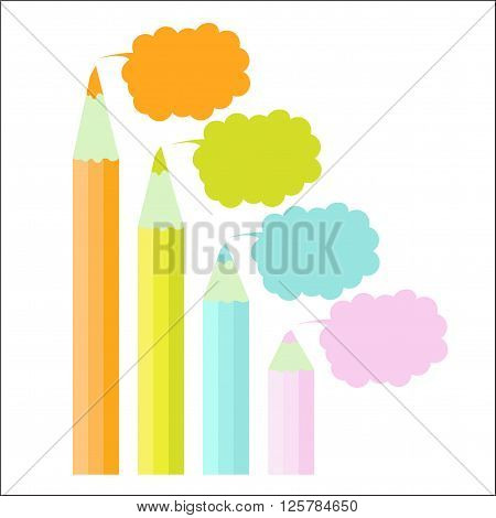 Four step chart happy modern template scheme colour pencil pastel cloud. Infographic step by step graphic.