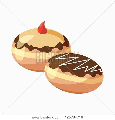 Two hanukkah doughnuts icon in cartoon style isolated on white background. Traditional Jewish holiday food