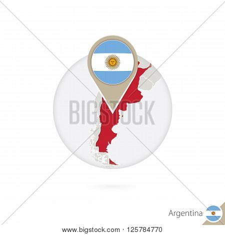 Argentina Map And Flag In Circle. Map Of Argentina, Argentina Flag Pin. Map Of Argentina In The Styl
