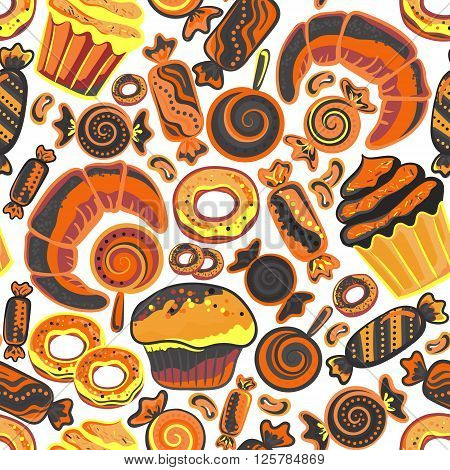 Vector food bakery seamless pattern with baked goods. Flour products from pastry shop. Illustration for print web. Original design element. Brown orange colors.