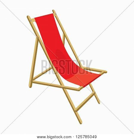 Red wooden beach chair icon in cartoon style isolated on white background