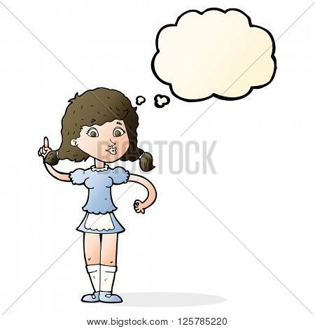 cartoon pretty maid woman with thought bubble