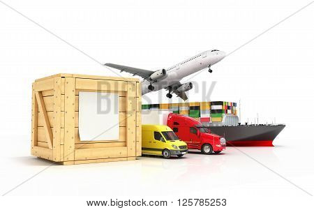 3d render of different modes of transport go out of a wooden box with a blank sheet on it isolated on white