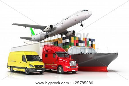 3d render of different modes of transport in one direction seeking concept of diverse deliveries