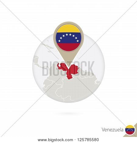 Venezuela Map And Flag In Circle. Map Of Venezuela, Venezuela Flag Pin. Map Of Venezuela In The Styl
