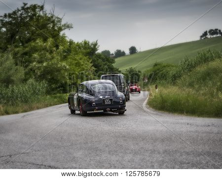 PORSCHE 356 1500 Speedster 1955 PESARO, ITALY - MAY 15: Race vintage car one thousand miles 2015 on an old racing car in rally Mille Miglia 2015 the famous italian historical race (1927-1957) on May 2015