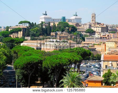 Capitol hill and the cityscape of Rome in Italy.