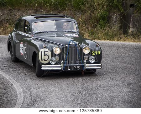 PESARO, ITALY - MAY 15: JAGUAR Mark VII 1951  on an old racing car in rally Mille Miglia 2015 the famous italian historical race (1927-1957) on May 2015