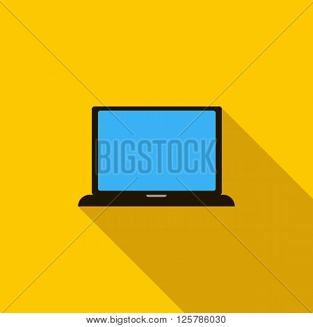Laptop icon in flat style on a yellow background