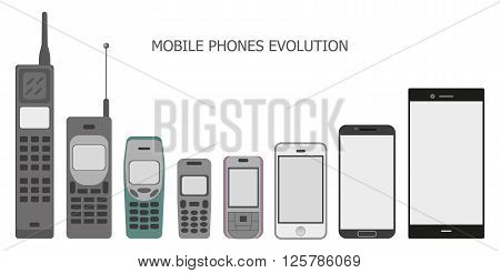 Vector set modern and vintage mobile gadgets. mobile phone evolution vector.