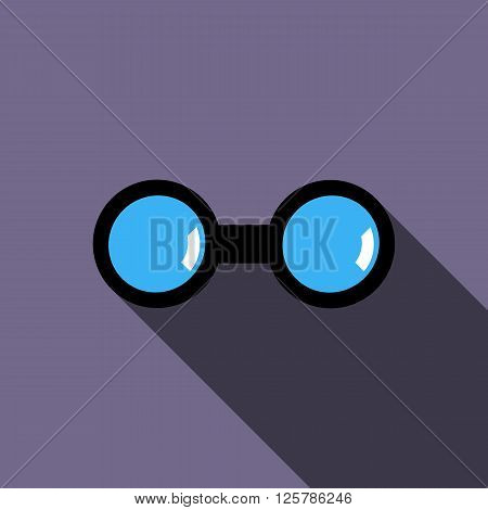 Binocular icon in flat style on a violet background