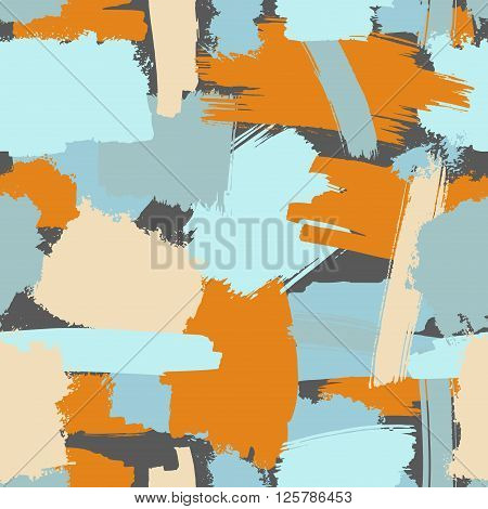 Vector seamless grunge brush pattern in bright colors, abstract trendy background