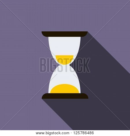 Hourglass icon in flat style on a violet background