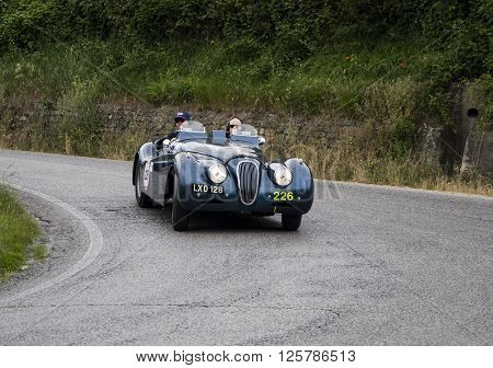 PESARO, ITALY - MAY 15: JAGUAR XK 120 OTS Sports Ecurie Ecosse 1951 on an old racing car in rally Mille Miglia 2015 the famous italian historical race (1927-1957) on May 2015