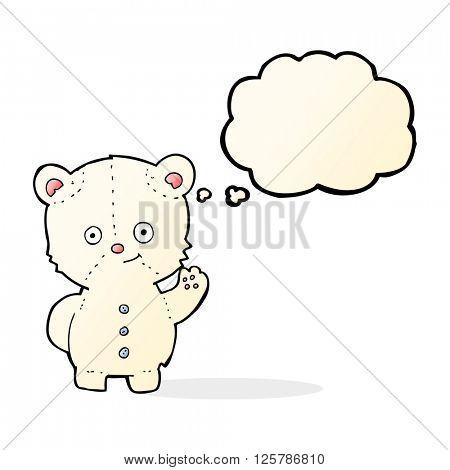 cartoon waving polar bear cub with thought bubble