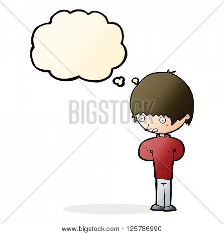 cartoon nervous boy with thought bubble