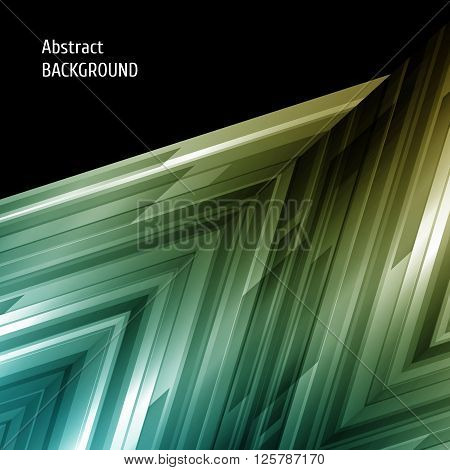 Abstract geometric background. Asymmetry design in blue and green. Vector illustration.