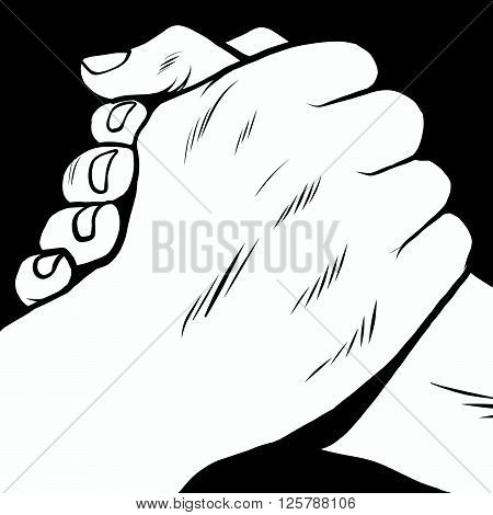 The handshake of solidarity hands pop art retro style. Armwrestling
